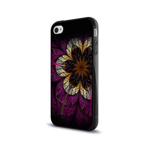 Чехол для Apple iPhone 4/4S силиконовый глянцевый  Фото 03, Цветочная абстракция