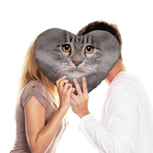 Подушка 3D сердце  Фото 03, Котик