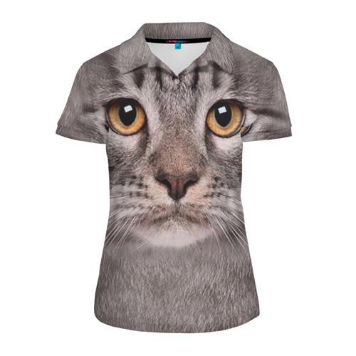 Женская рубашка поло 3D Котик
