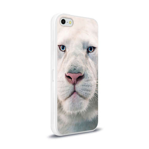 Чехол для Apple iPhone 5/5S силиконовый глянцевый  Фото 02, Белый лев