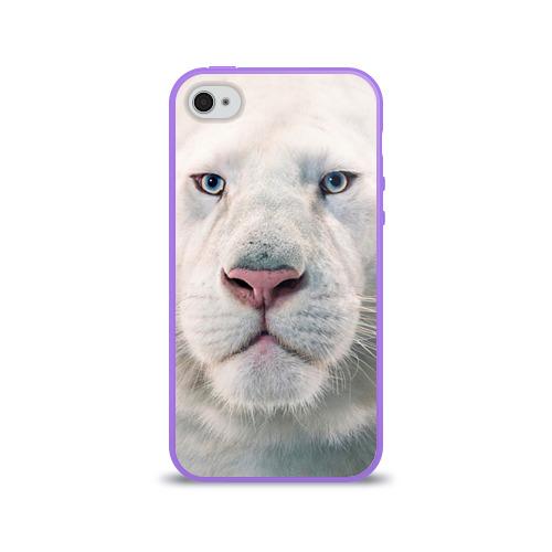 Чехол для Apple iPhone 4/4S силиконовый глянцевый  Фото 01, Белый лев