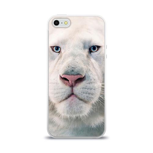Чехол для Apple iPhone 5/5S силиконовый глянцевый  Фото 01, Белый лев