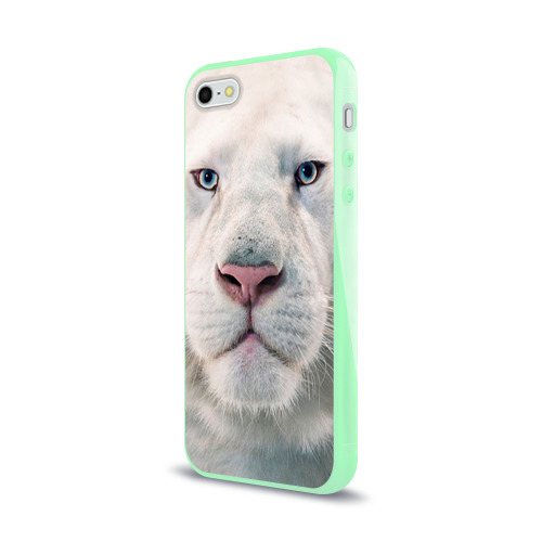 Чехол для iPhone 5/5S глянцевый Белый лев Фото 01