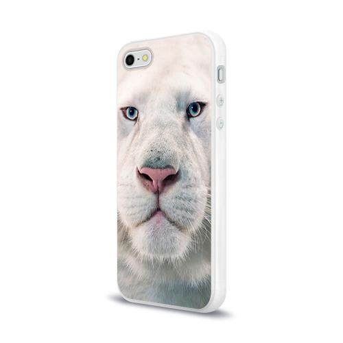 Чехол для Apple iPhone 5/5S силиконовый глянцевый  Фото 03, Белый лев