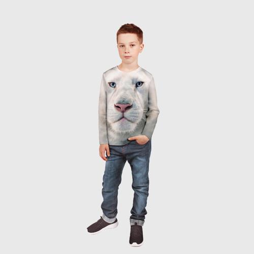 Детский лонгслив 3D Белый лев Фото 01