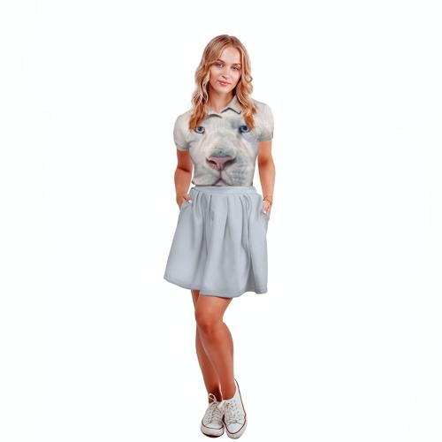 Женская рубашка поло 3D Белый лев Фото 01