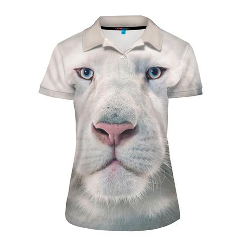 Женская рубашка поло 3D Белый лев