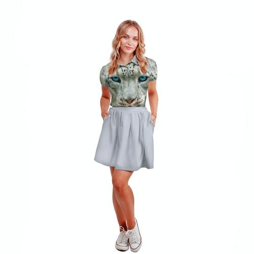 Женская рубашка поло 3D Снежный барс Фото 01