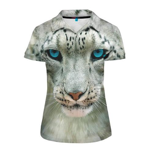 Женская рубашка поло 3D Снежный барс