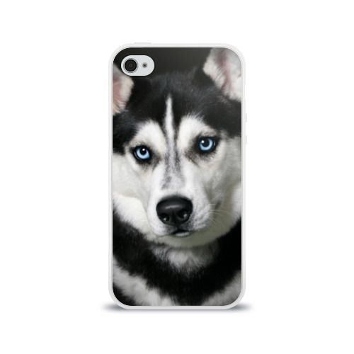 Чехол для Apple iPhone 4/4S силиконовый глянцевый Хаски