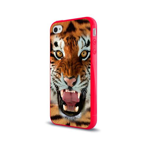 Чехол для Apple iPhone 4/4S силиконовый глянцевый  Фото 03, Тигр