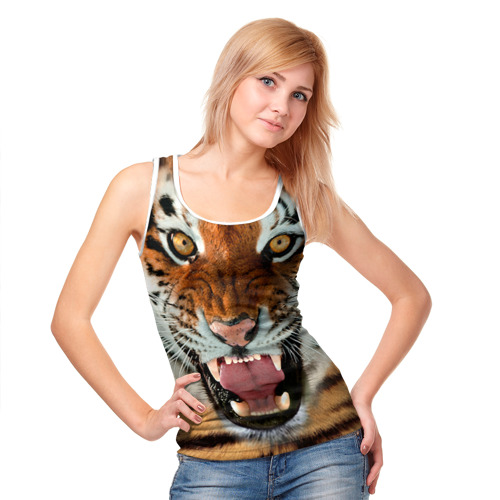 Женская майка 3D  Фото 05, Тигр