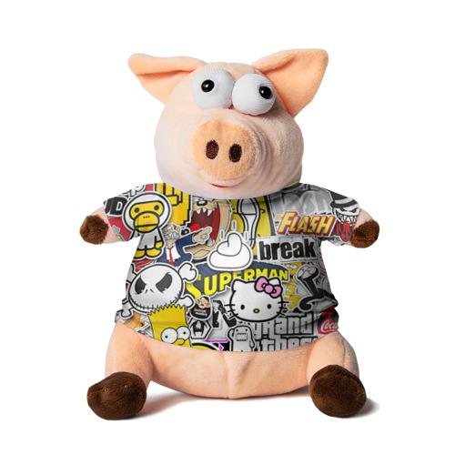 Свинка в футболке 3D стикербомбинг