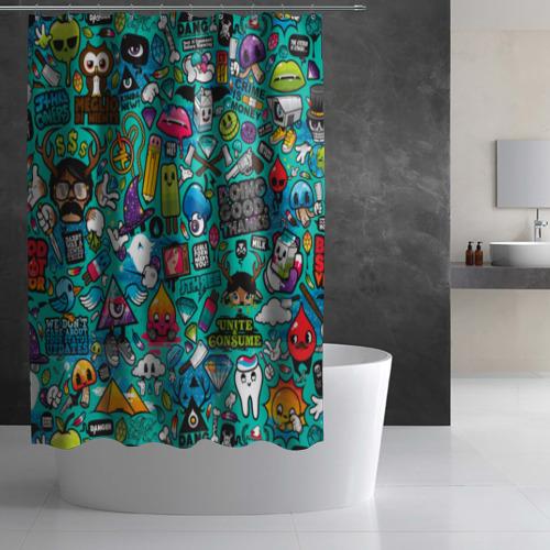 Штора 3D для ванной стикербомбинг Фото 01