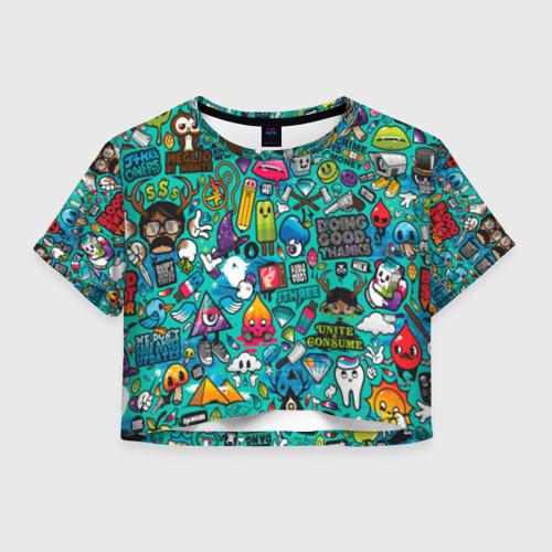 Женская футболка Crop-top 3D стикербомбинг Фото 01