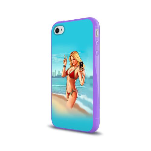 Чехол для Apple iPhone 4/4S силиконовый глянцевый  Фото 03, Девушка GTA