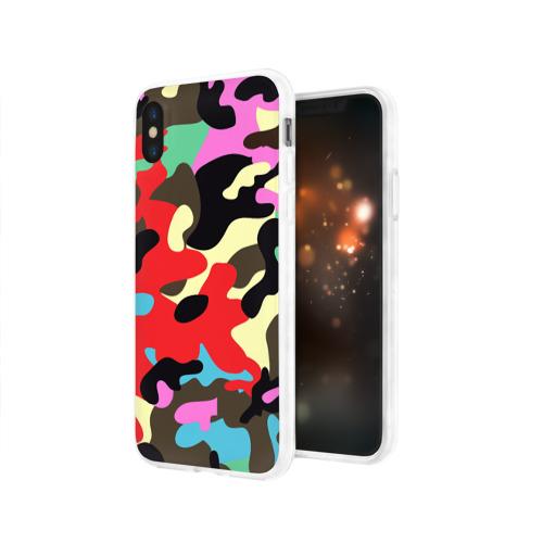 Чехол для Apple iPhone X силиконовый глянцевый  Фото 03, Камуфляж