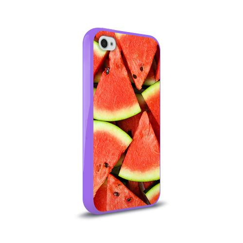 Чехол для Apple iPhone 4/4S силиконовый глянцевый  Фото 02, Дольки арбуза