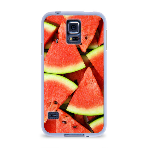 Чехол для Samsung Galaxy S5 силиконовый  Фото 01, Дольки арбуза