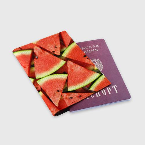 Обложка для паспорта матовая кожа Дольки арбуза Фото 01