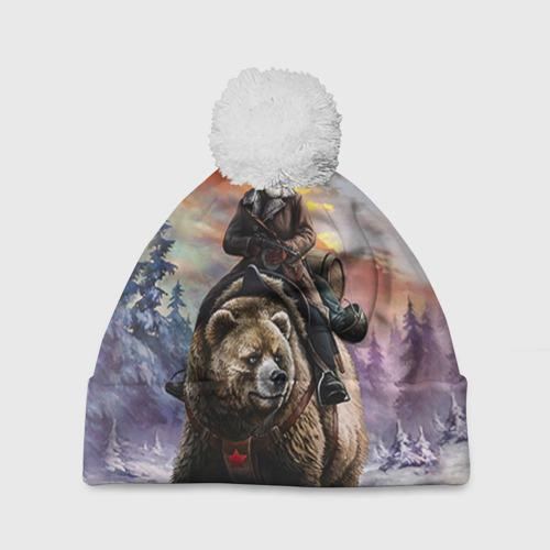 Шапка 3D c помпоном  Фото 01, Медведь