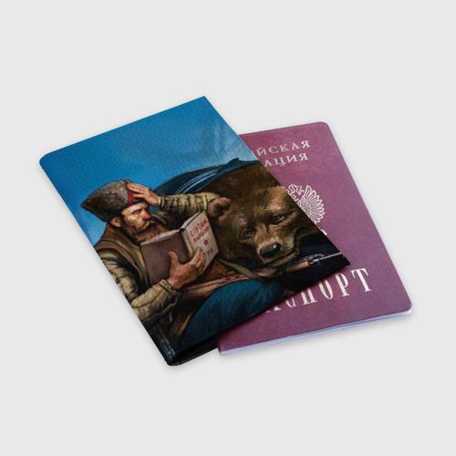 Обложка для паспорта матовая кожа  Фото 03, Медведь