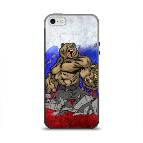 Чехол для Apple iPhone 5/5S силиконовый глянцевый Медведь Фото 01