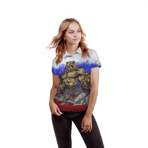Женская рубашка поло 3D  Фото 03, Медведь