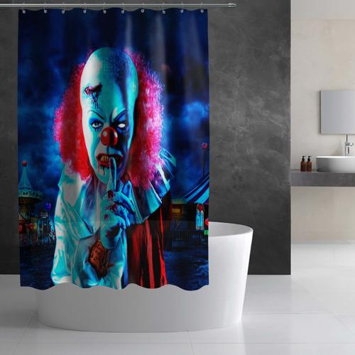 Штора 3D для ванной  Фото 03, Клоун