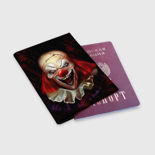Обложка для паспорта матовая кожа  Фото 03, Зомби клоун