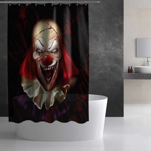 Штора 3D для ванной  Фото 02, Зомби клоун