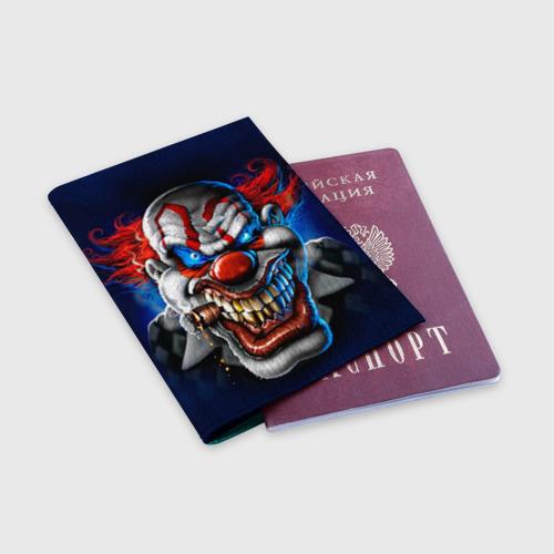 Обложка для паспорта матовая кожа Клоун Фото 01