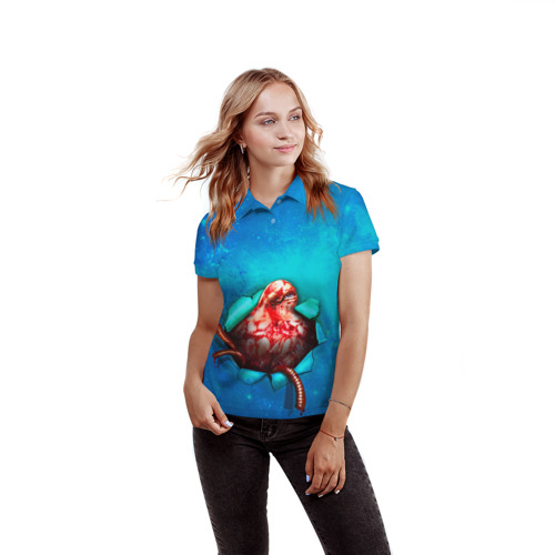 Женская рубашка поло 3D  Фото 03, Чужой