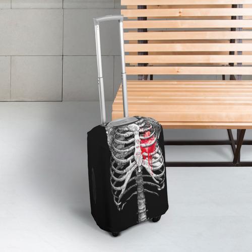 Чехол для чемодана 3D  Фото 03, Скелет с сердцем