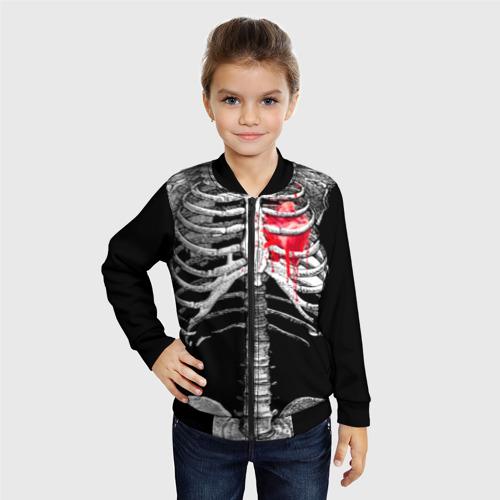 Детский бомбер 3D Скелет с сердцем Фото 01