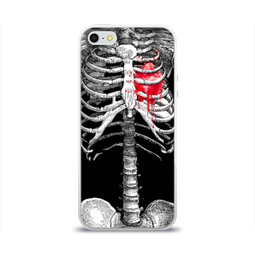 """Чехол силиконовый глянцевый для Apple iPhone 5S """"Скелет с сердцем"""" - 1"""