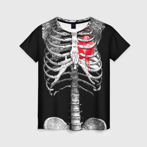 """Женская футболка 3D с полной запечаткой """"Скелет с сердцем"""" - 1"""
