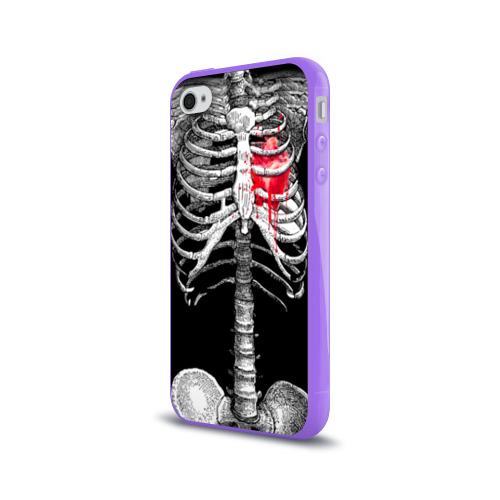 Чехол для Apple iPhone 4/4S силиконовый глянцевый  Фото 03, Скелет с сердцем