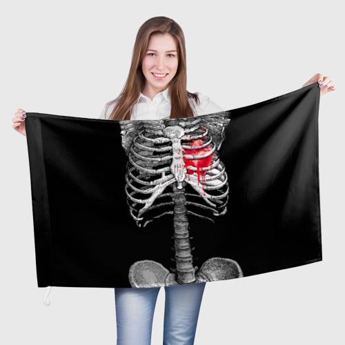 Флаг 3D  Фото 01, Скелет с сердцем