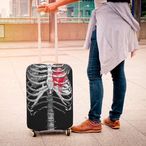 Чехол для чемодана 3D  Фото 04, Скелет с сердцем