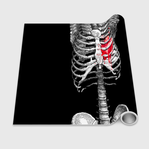 Бумага для упаковки 3D  Фото 02, Скелет с сердцем