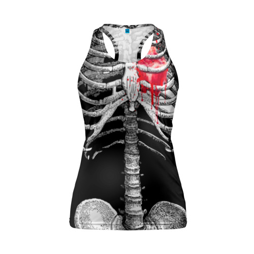 Женская майка 3D спортивная Скелет с сердцем