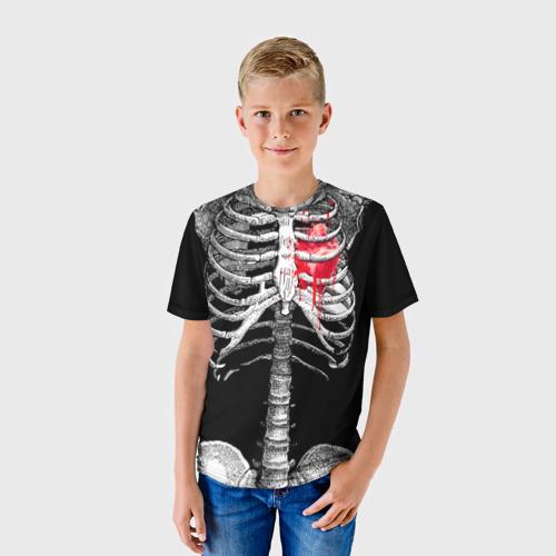 Детская футболка 3D Скелет с сердцем