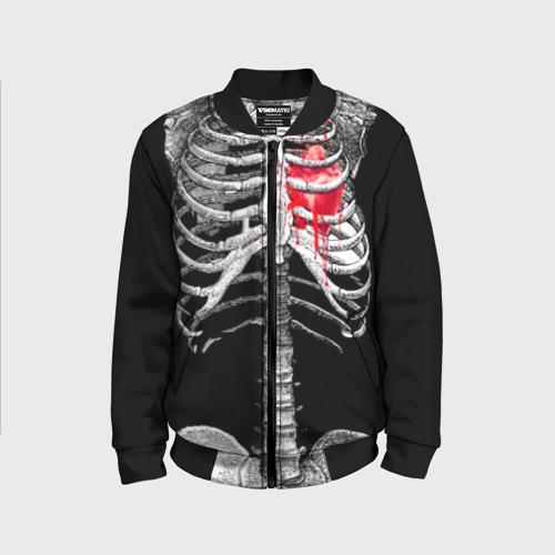 Детский бомбер 3D Скелет с сердцем