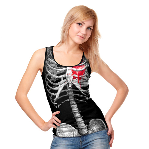 Женская майка 3D Скелет с сердцем Фото 01