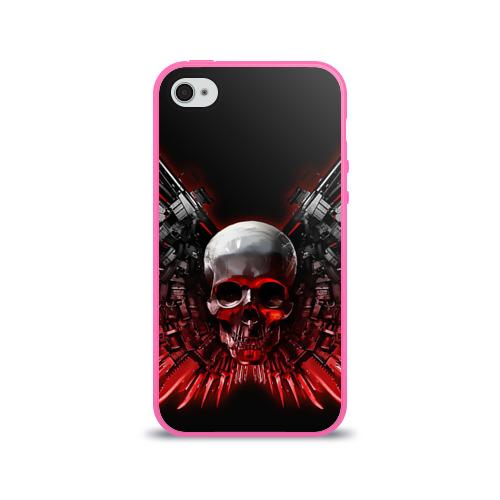 Чехол для Apple iPhone 4/4S силиконовый глянцевый  Фото 01, Череп с оружием