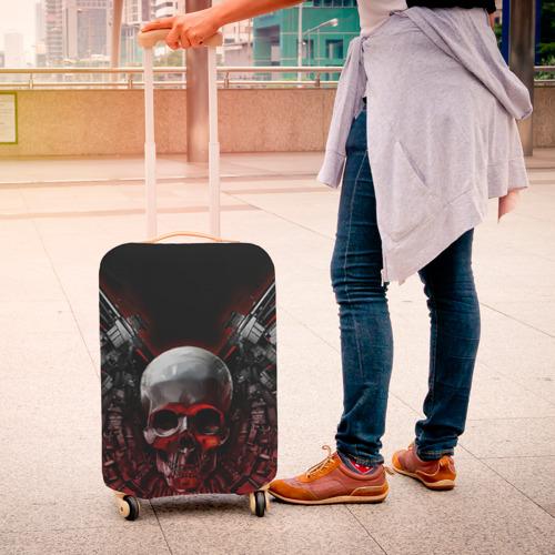 Чехол для чемодана 3D  Фото 04, Череп с оружием