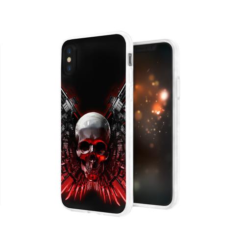 Чехол для Apple iPhone X силиконовый глянцевый  Фото 03, Череп с оружием