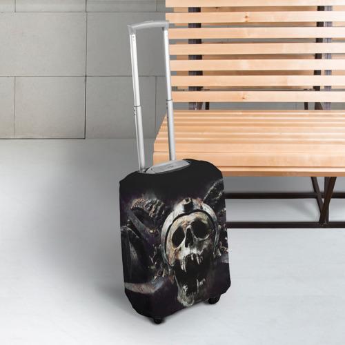 Чехол для чемодана 3D  Фото 03, Череп с рогами