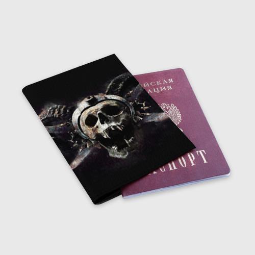 Обложка для паспорта матовая кожа  Фото 03, Череп с рогами